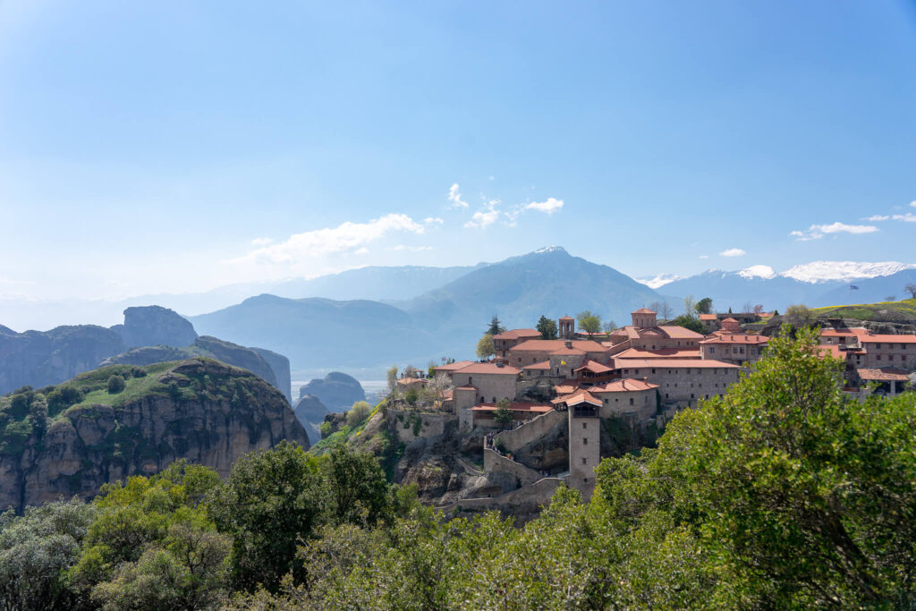 The unique view to the monasteries and the rocks of Meteora.